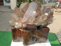 66 lb Natural Titanium Hair Tea Quartz Crystal Cluster + Stand Brazil NTA022