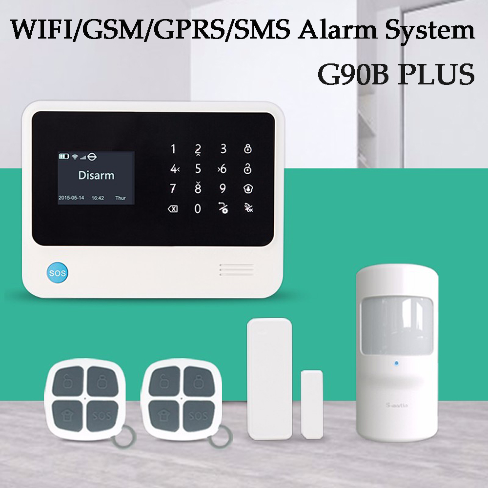 Latest G90B PLUS WIFI SMS GSM Wireless Home Security Alarm System Support Android/IOS App control PIR detector Door Sensor g90b 2 4g wifi gsm gprs sms wireless home security alarm system ios android app remote control detector sensor
