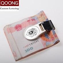 QOONG Custom Lettering Stainless Steel Metal Money Clip Fashion Crafts Novel Cash Clamp Holder Mini Wallet for Men Women 40-011