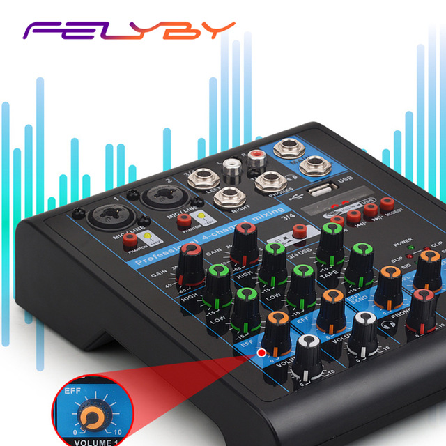 Misturador de Áudio Portátil com Usb Amplificador com Bluetooth para Casa Mostrar ao Vivo Felyby Multifunction Canal v Karaoke 4 48