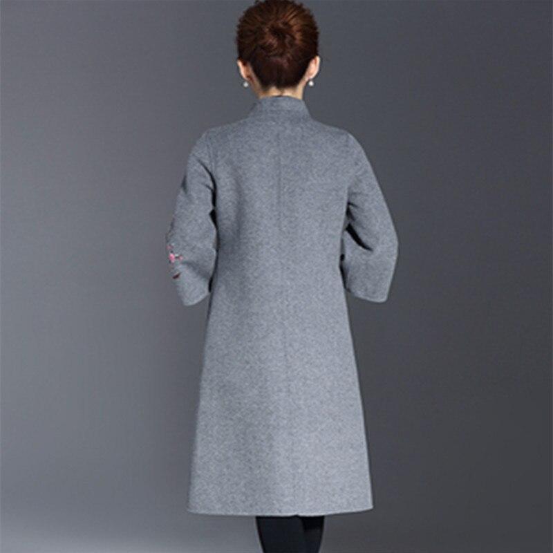 Hiver Mode Xl bourgogne Gris Nouveau Laine Mince Gris Manteaux Manteau Vêtements Taille Long Broderie Femmes Automne De navy Blue 5xl Base 5SnAqBW