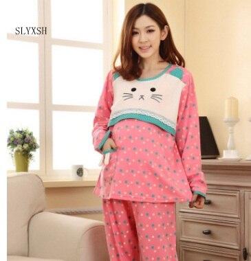 Summer month suit cotton fashion pregnant women pajamas suit knit long-sleeved nursing postpartum feeding clothes