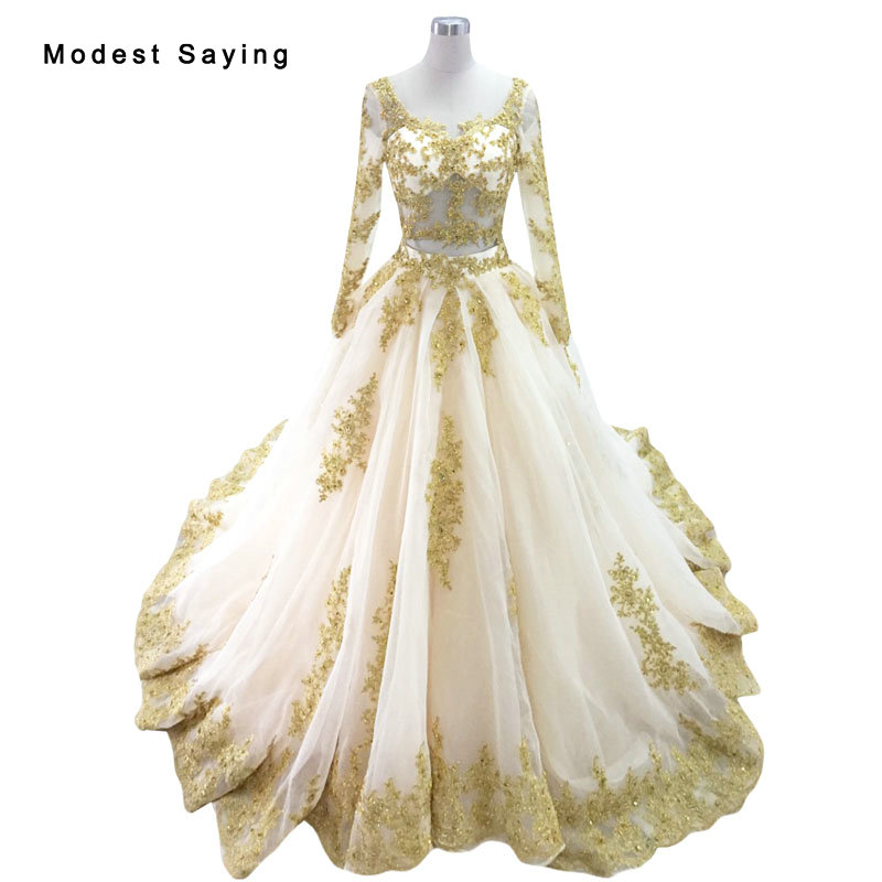 luxury sexy gold and champagne ball gown beaded lace long