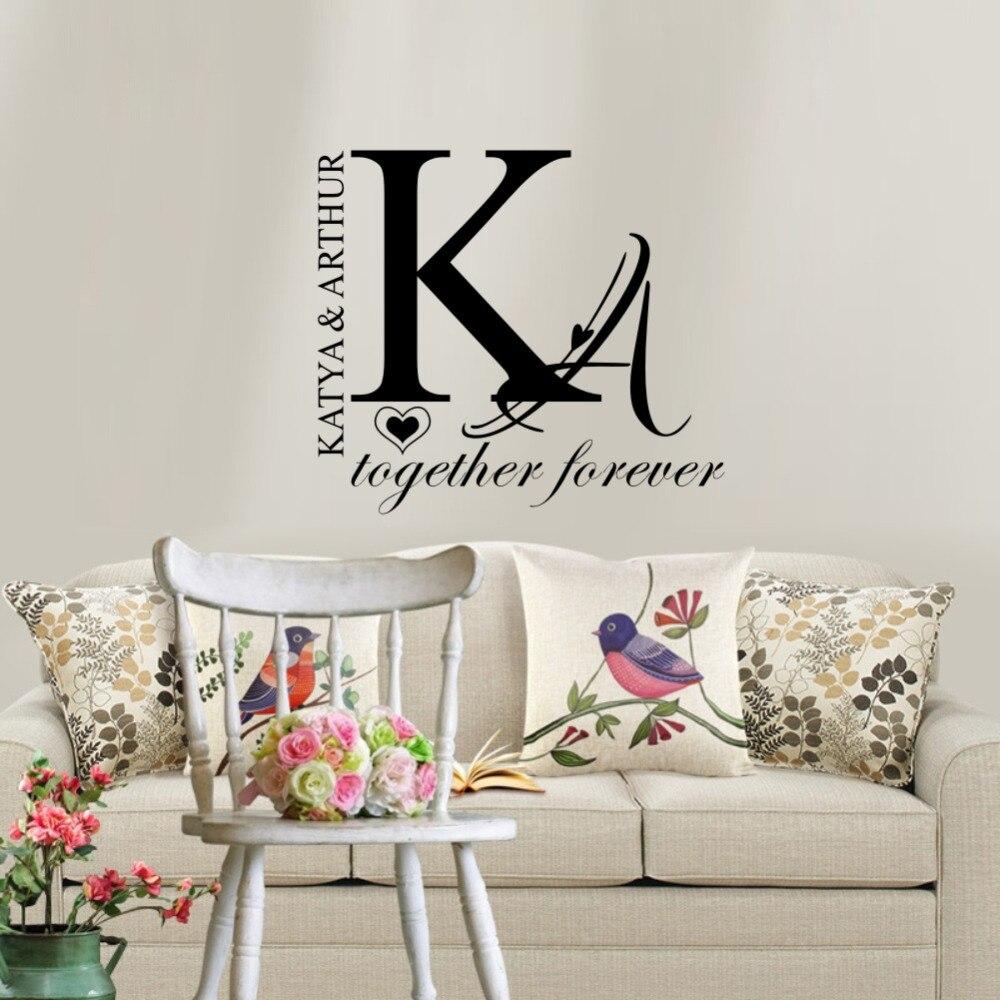 Personalisierte Paar Name Wandaufkleber Kreative Individuelle Aufkleber Tapete für Hause Schlafzimmer Dekoration