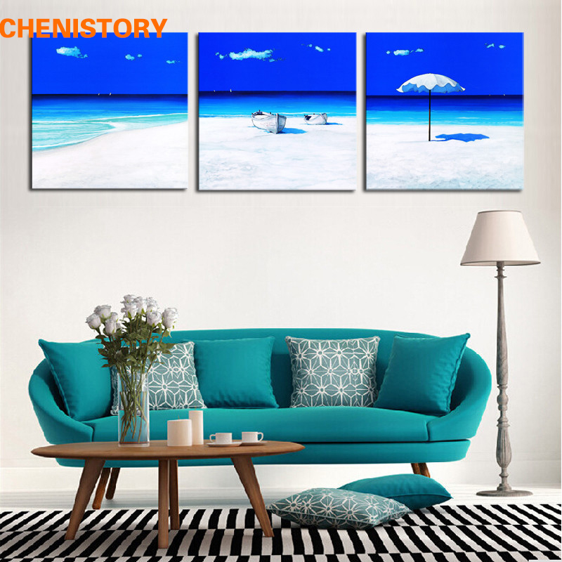 Unframed 3 Panel Light Blue Beach Seascape Modern Print Picture Painting Home Wall Art Decor For Living Room Decoration Artwork