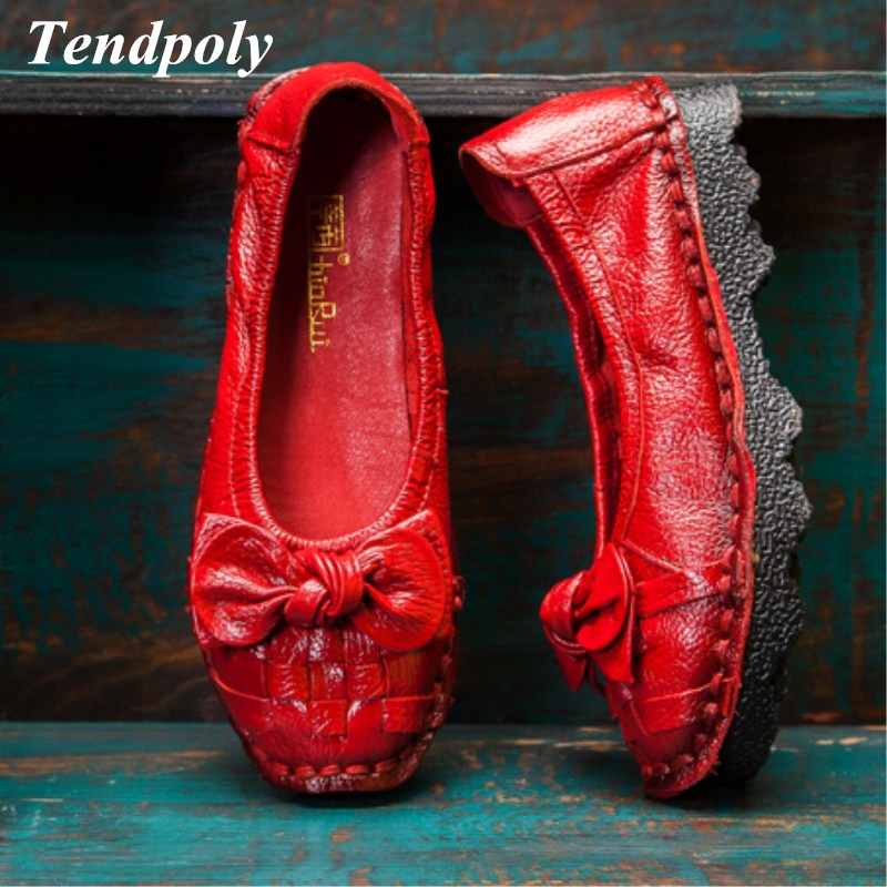 New national style fashion shoes spring and autumn retro genuine leather women's singles shoes selling pure handmade bow leisure phil collins singles 4 lp