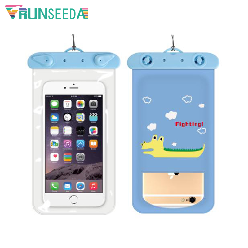 Runseeda 6 Inch Cartoon Swimming Bag Cute Waterproof Mobile Phone Carry Case New Sealed Pouch For Iphone Huawei Xiaomi Cellphone 3