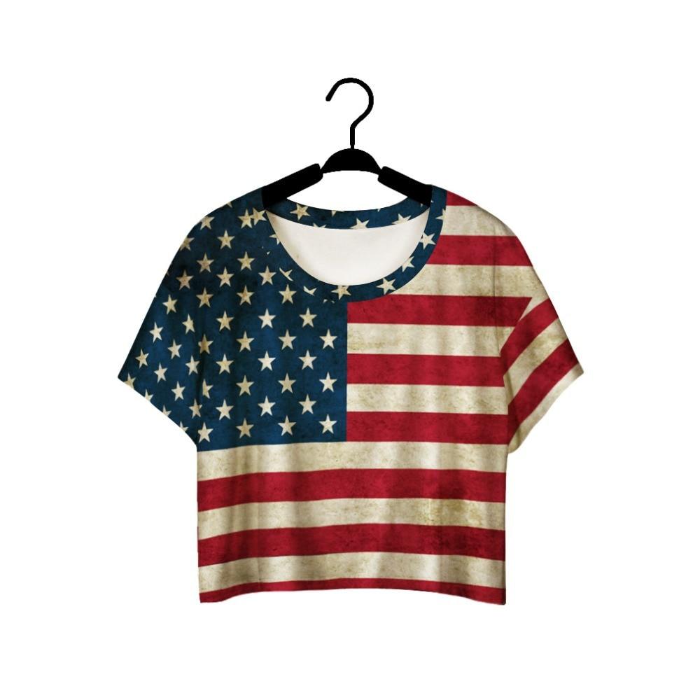 Design t shirt online usa - Girls Summer T Shirt Red Stripe Usa Flag 3d Printed Harajuku Crop Top Round Neck Loose Women T Shirt Casual Women Tops Tee Shirt