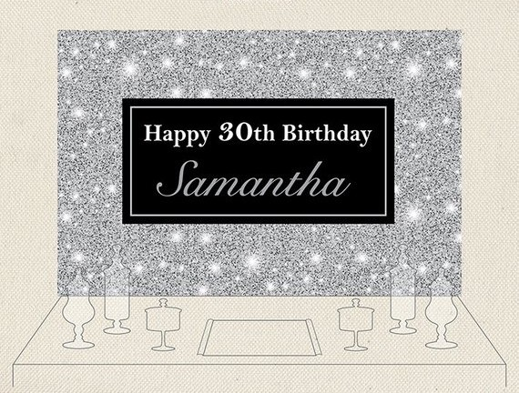 Custom Black Sparkly Buffet Candy Silver Glitter 30th 40th Birthday Background Computer Print Party Backdrop Background Photo Studio