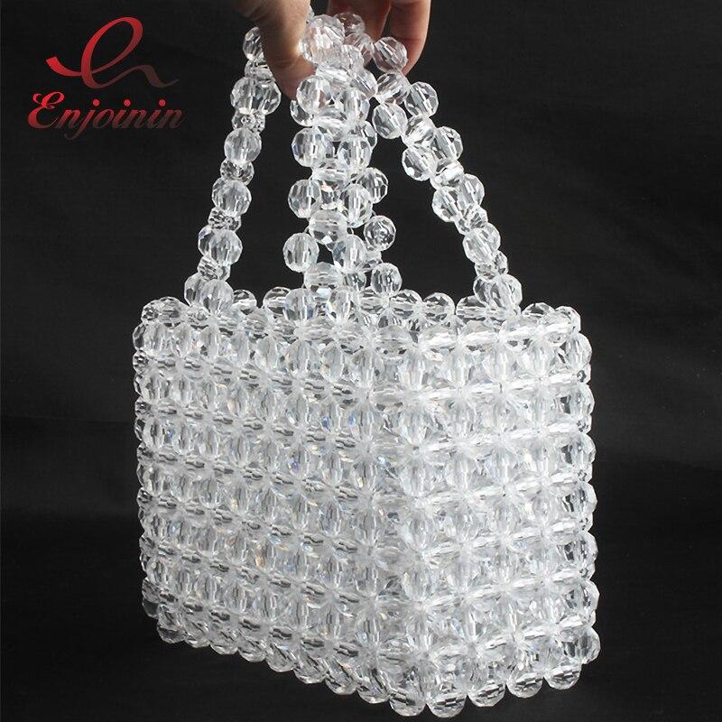 Qualité supérieure Perlée Acrylique Élégant Mode Femmes sac à main de fête sac de plage sacs pour femme Sac Transparent sac fait main Femelle Bolsa