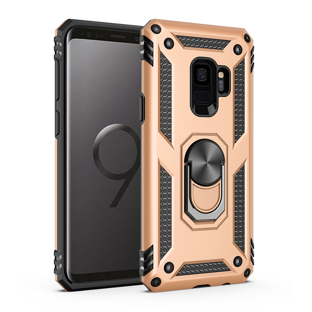 For Samsung Galaxy S9 S9 Plus Dual Layer Military Armor Case Magnetic Ring Stand Slim Shockproof Hard Cover For Galaxy S9 in Fitted Cases from Cellphones Telecommunications