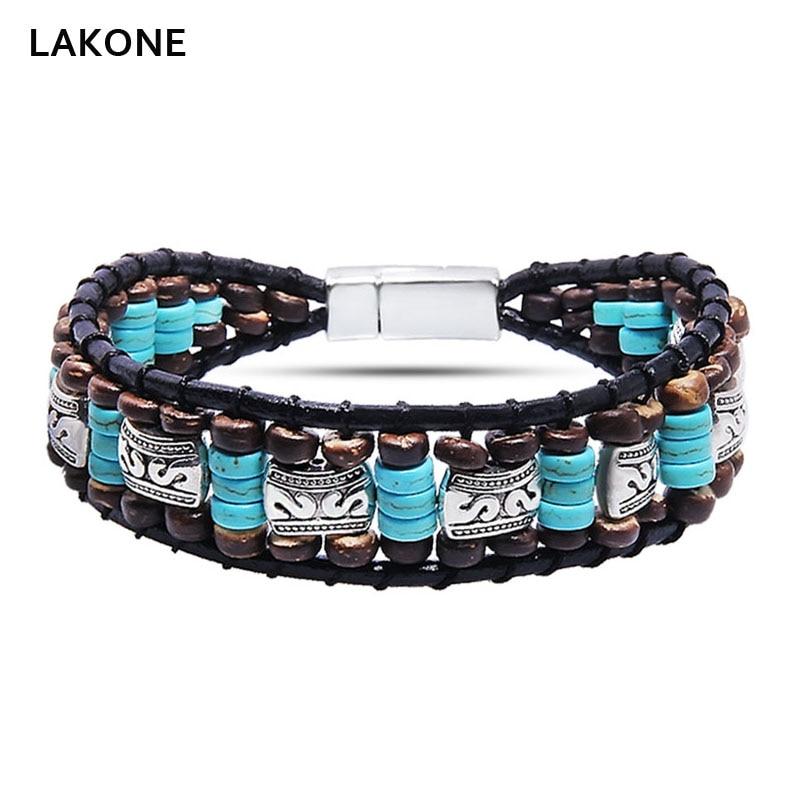 Beaded Wrap Bracelet Turquoises Leather Wrap Bracelets Native American Style Men's Boho Wood Beads Mix Magnetic clasp Women