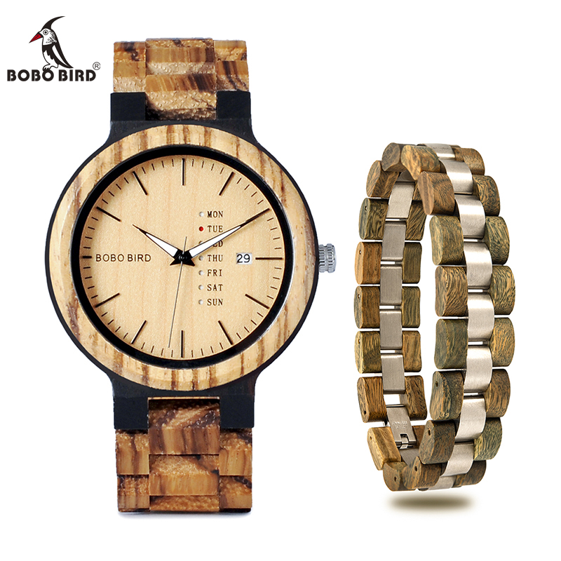 BOBO BIRD Zebra Wood Quartz Watch With Bracelet Men Wristwatch Week Date Display Best Gift relogio
