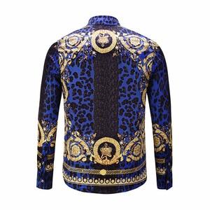 Image 2 - XIMIWUA 2019 New Men Shirts 3d Print Leopard Gold Floral Design Long Sleeve Casual Shirts Mens Fashion Shirts Chemise Homme