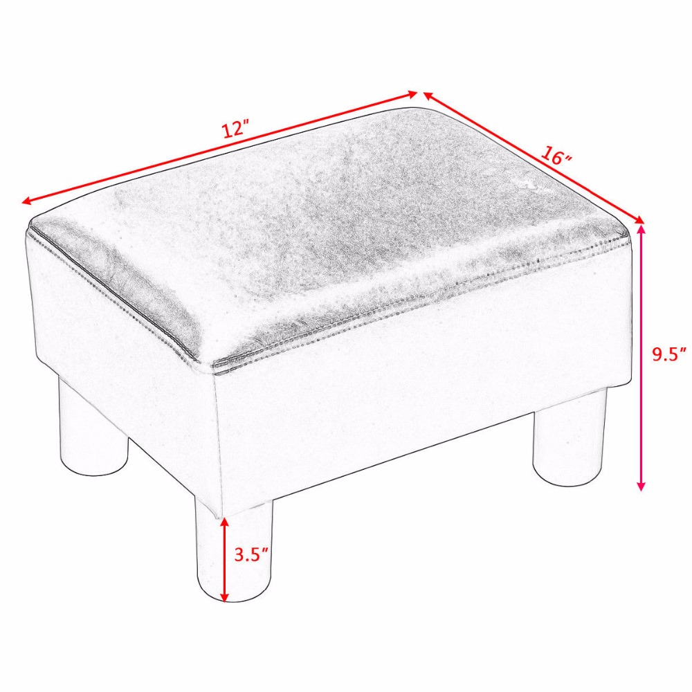 Excellent Goplus Small Ottoman Footrest Pu Leather Footstool Rectangular Seat Stool Portable White Red Modern Home Sofa Chair Hw56300 Dailytribune Chair Design For Home Dailytribuneorg