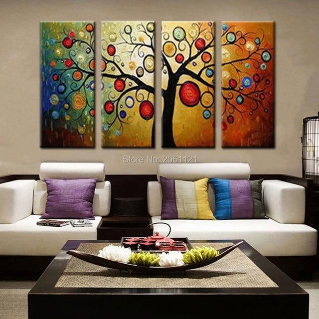 Wunderbar Handgefertigte Abstrakte Baum Ölgemälde Bild Für Moderne Wohnzimmer  Dekoration Große 4 Stück Wandkunst Set Leinwand Abstrakte