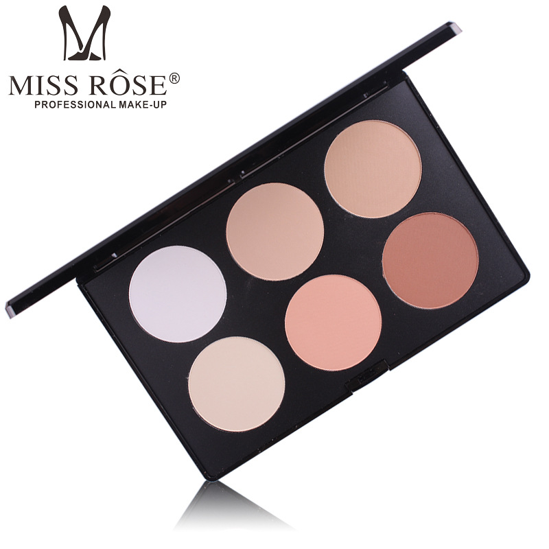 MISS ROSE 1pcs 6 Color <font><b>Contour</b></font> Powder Palette Make up Foundation Long-Lasting Face Pressed Powder Concealer Cosmetics A573