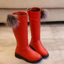 CLOWN DUCKS Children's Winter Boots for Girls Knee-High Fashion Boots Princess Winter Flats Dress Shoes Black Red Snow Shoes high quality 2016 winter fashion elegant princess boots flower crystal zip shoes girls snow boots waterproof high boots