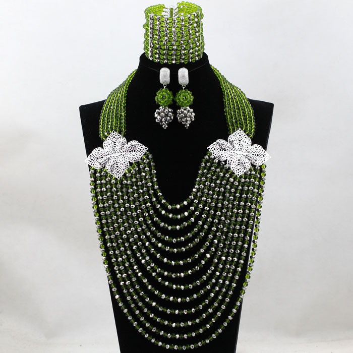 Fabulous Olive Green Silver African Beads Jewelry Set Crystal Bib Necklace Earrings Bracelet Women Jewelry Set Free Ship HX756 classical malachite green round shell simulated pearl abacus crystal 7 rows necklace earrings women ceremony jewelry set b1303