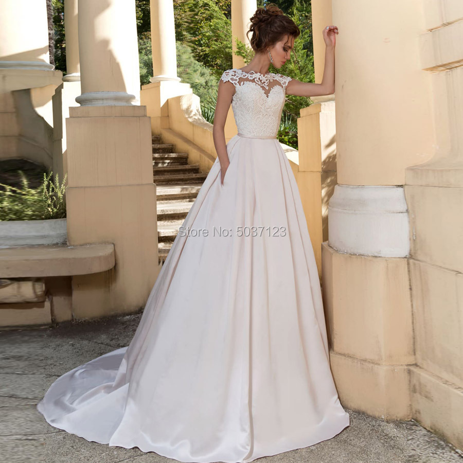 Satin A Line Wedding Dresses Scoop Cap Sleeves Vestido De Noiva Sleeveless Court Train Lace Up Bridal Gowns Plus Size
