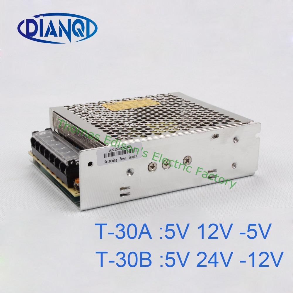 Triple output power supply 30w 5V 3a, 12V 1a, -5V power suply T-30  ac dc converter  -12V -5V   T-30B  T-30A t 120a triple output power supply 120w 5v 15v 15v power suply ac dc converter power supply switching