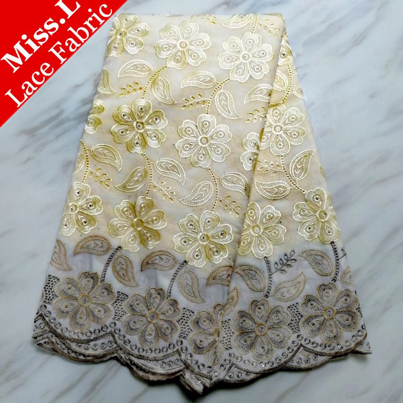 Swiss Voile Lace Fabric African Dry Lace High Quality Embroidered Swiss Cotton Lace Fabrics With Stones