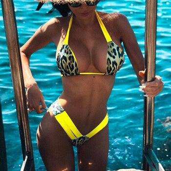 Leopard Halter Brazilian bikini 2021 Women swimsuit female swimwear Two pieces bikini set High cut Bather bathing suit Swim Lady splicing leopard print bikini 2020 women swimwear female swimsuit two pieces bikini set knotted halter bather bathing suit swim