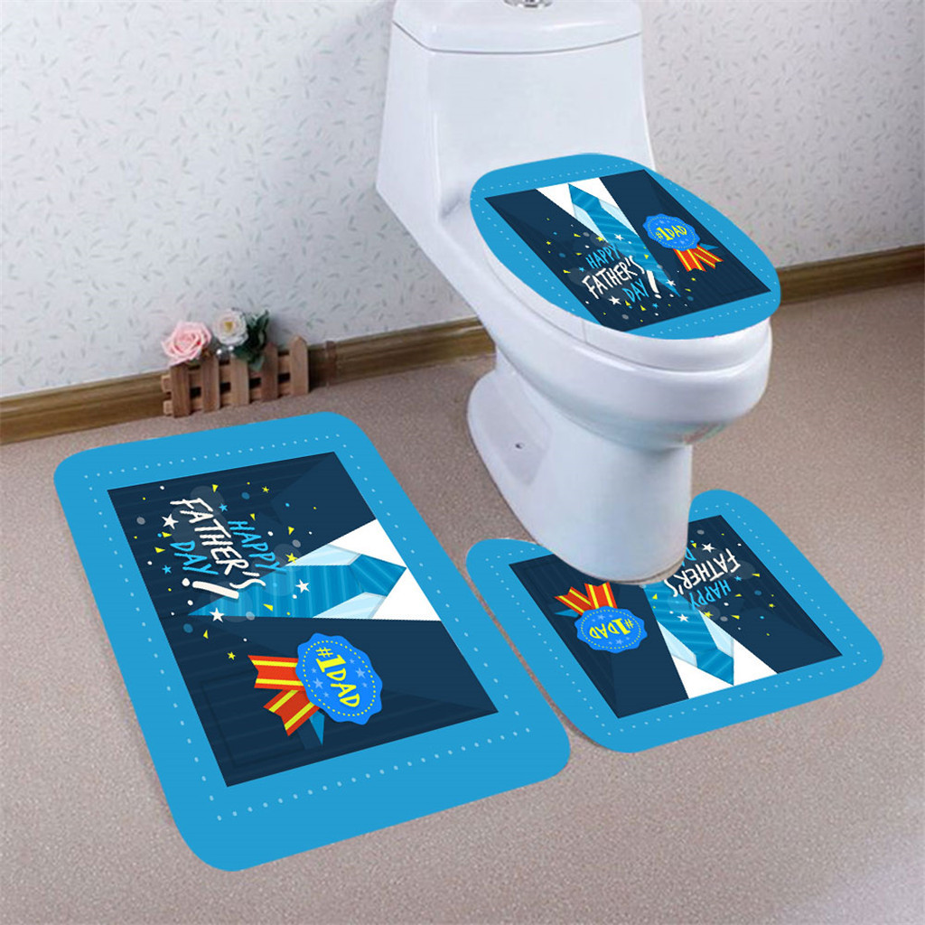 3pcs Father's Day Non-Slip Bath memory carpet rugs toilet funny bathtub Room living room door stairs bathroom foot 19June10