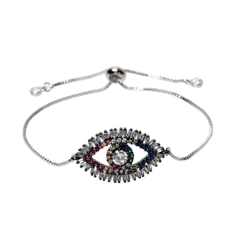 Painstaking Shiny Blue Zircon Evil Eye Charm Bracelet Femme Silver Gold Color Copper Chain Link Women Bracelets & Bangles Jewelry Clients First Charm Bracelets Bracelets & Bangles