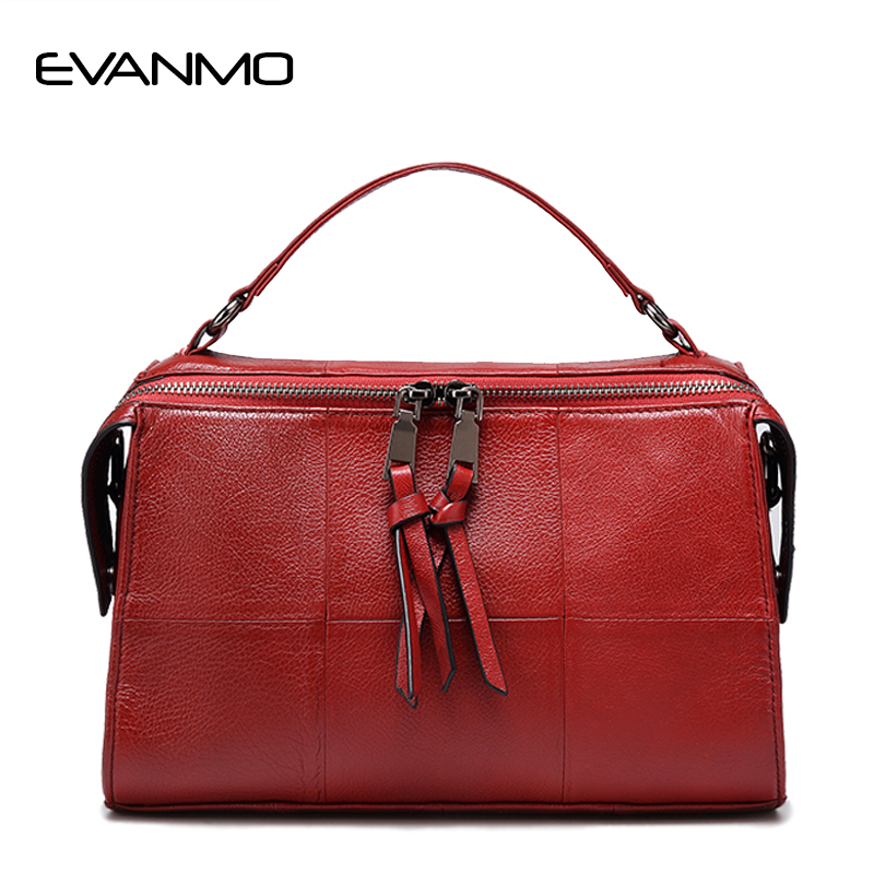 2018 Brand Genuine Leather Women Messenger Bag Soft Patchwork Cowhide Leather Shoulder Bag Women Crossbody Bag Daily Handbag