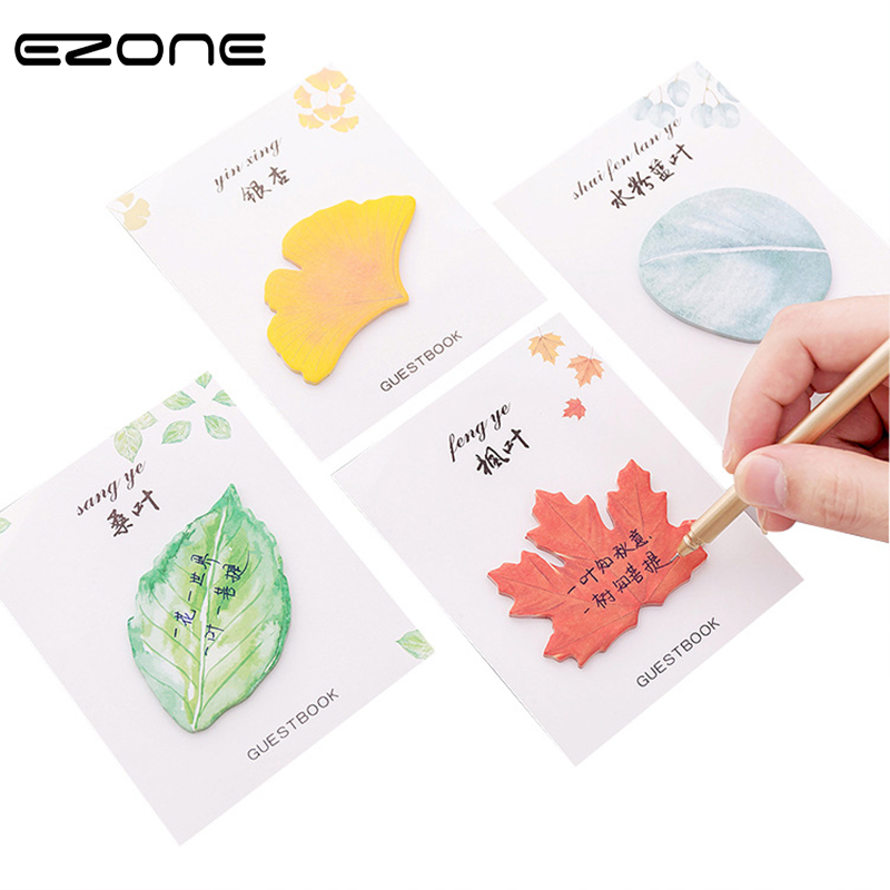 EZONE Fresh Leaves Sticky Notes Creative Korean Style Memo Pad Students Favors Stationery N-Times Sticker School Office Supply