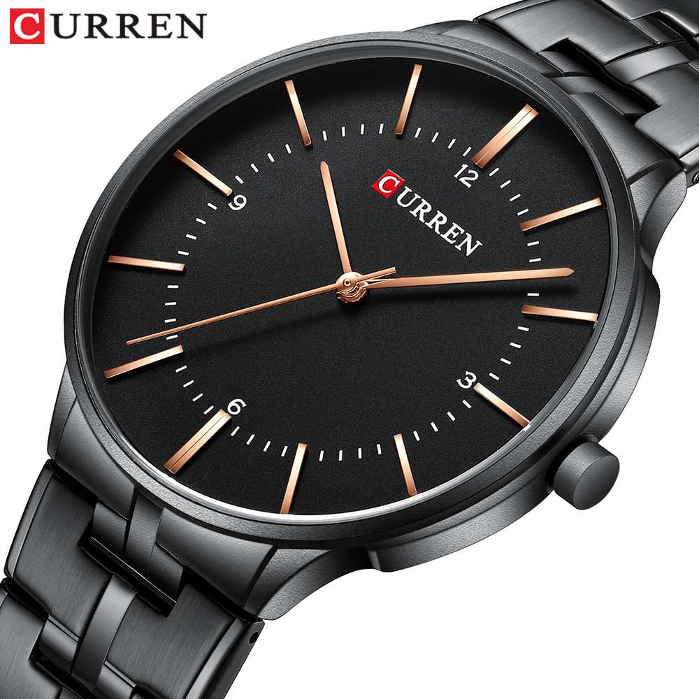 2019 Top Brand CURREN Luxury Quartz Watches For Men Wrist Watch Classic Black Stainless Steel Strap Men's Watch Waterproof 30M