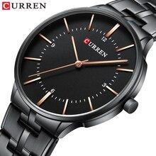 2019 marca superior curren relógios de quartzo de luxo para homens relógio de pulso clássico preto pulseira de aço inoxidável relógio masculino à prova d30 água 30m