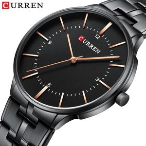 Image 1 - CURREN relojes de cuarzo para hombre, reloj de pulsera clásico negro con correa de acero inoxidable, resistente al agua hasta 30M, 2019