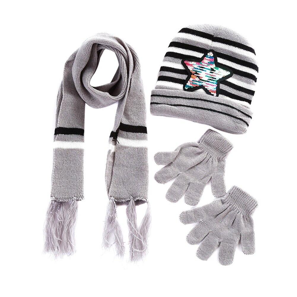 Children Winter Warm Knitted Beanie Cap Scarf Gloves Set Sequin Pentagram Pattern MSJ99
