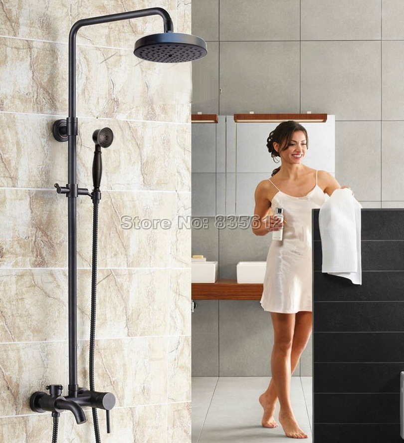 Wall Mounted Black Oil Rubbed Bronze Bathroom Rain Shower Faucet Set / Single Handle Bathtub Mixer Taps Wrs345