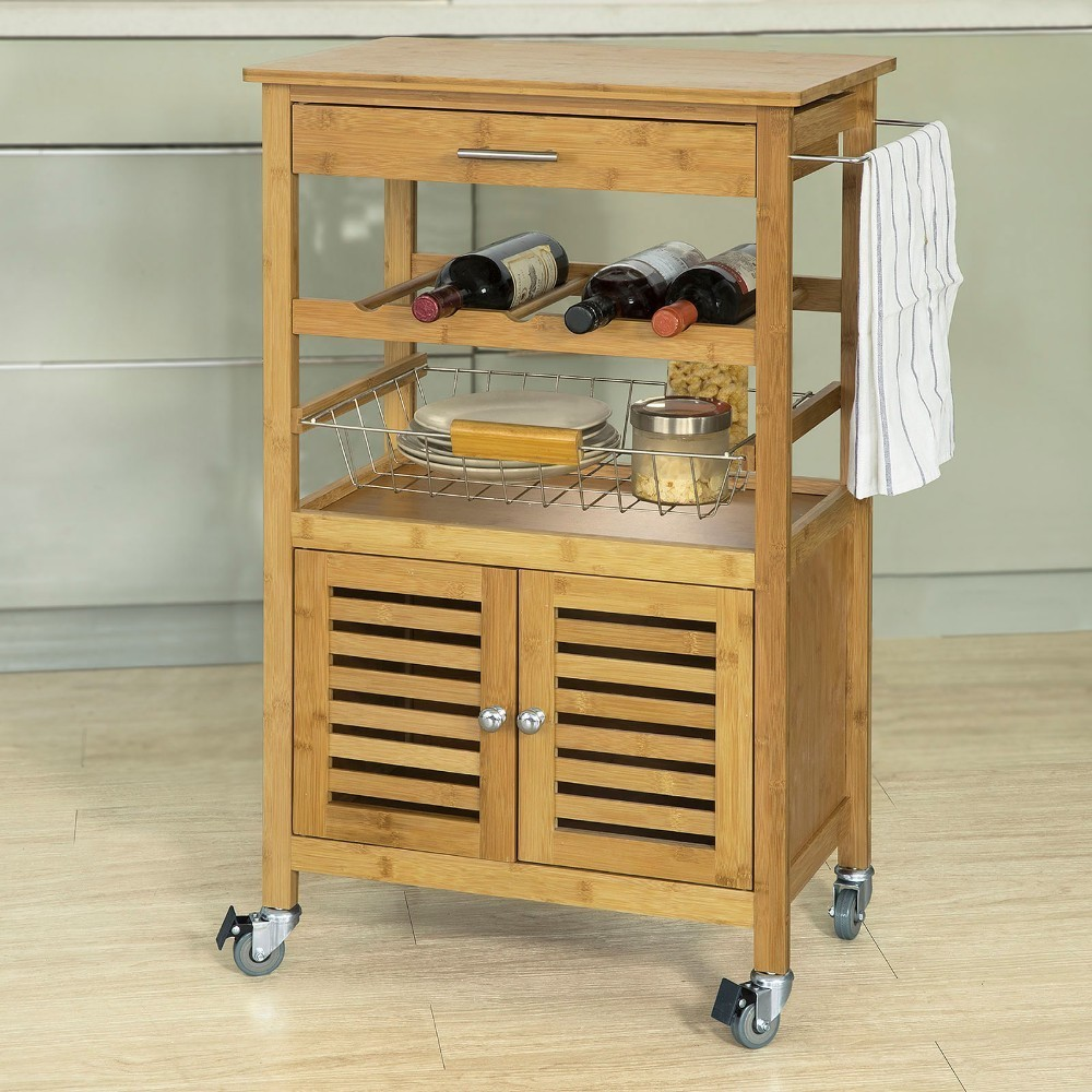 SoBuy FKW53-N, Bamboo Kitchen Serving Trolley Storage Trolley Cart with Cabinet newest stainless steel kitchen trolley universal 75x40x83 5cm transport trolley space saving storage rack kitchen storage cart