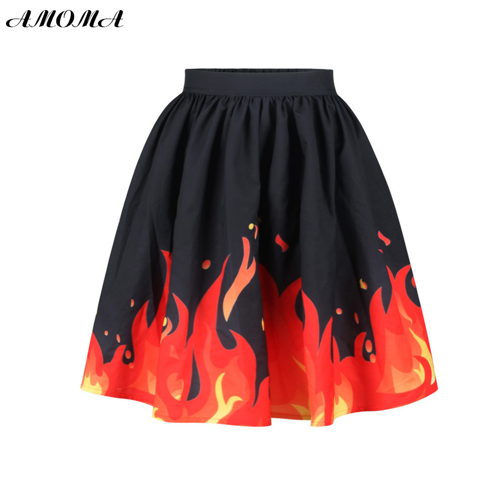 AMOMA Women 3D Print Ball Gown Casual Colorful Skirt For Ladies Fire