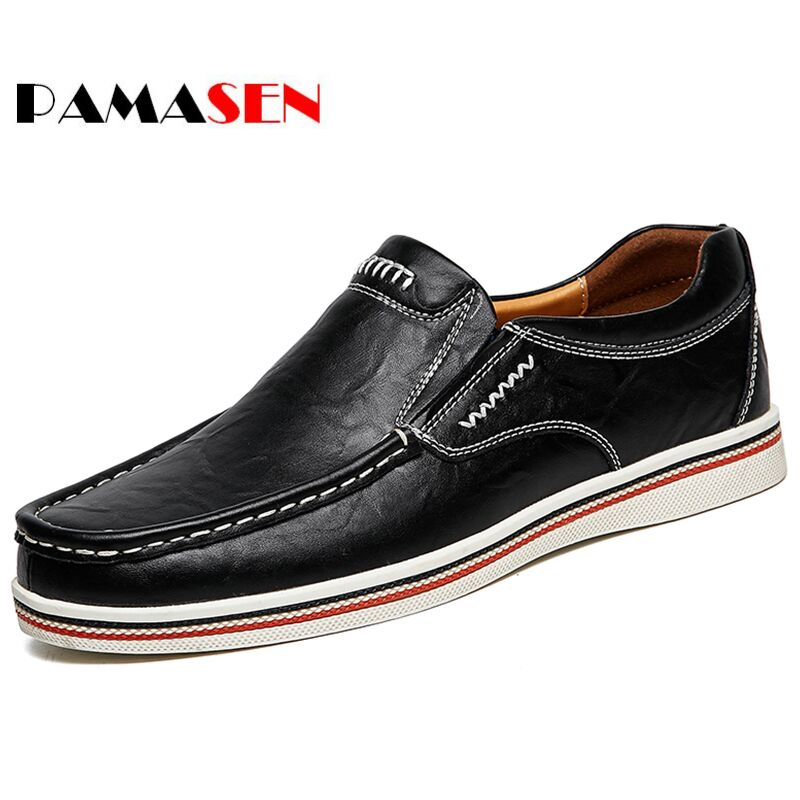 PAMASEN Brand New arrival Low price Mens Breathable High Quality Casual Shoes Genuine Leather Slip-On Men Fashion Flats Loafers hot sale mens italian style flat shoes genuine leather handmade men casual flats top quality oxford shoes men leather shoes