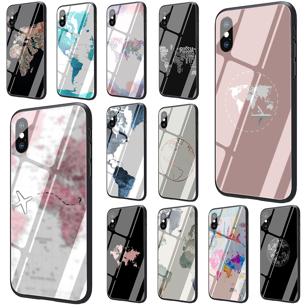 Travel in the world map Tempered Glass Phone Cover Case for iphone 5 5S 6 6S Plus 7 8 Plus X XS XR XS Max