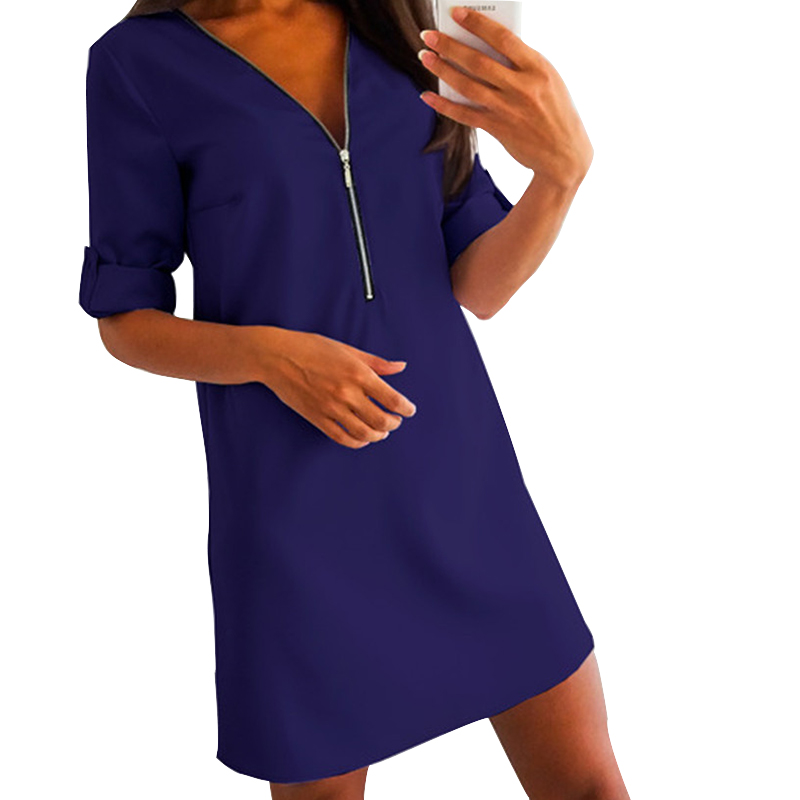Women Zipper <font><b>Dress</b></font> Mini Plus Size <font><b>Dress</b></font> S-<font><b>3XL</b></font> Solid Loose Long Sleeve Tops Button Chiffon V-Neck Female <font><b>Sexy</b></font> Office <font><b>Dress</b></font> M0257 image