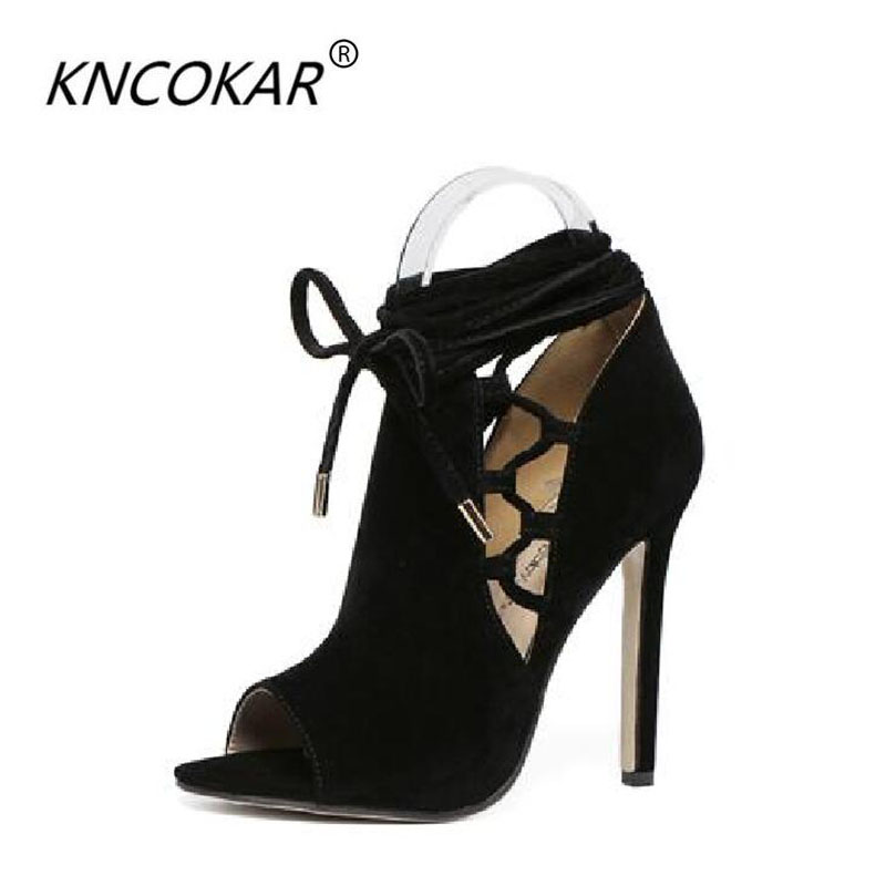 KNCOKAR2018Roman style high heel sandals with ankle strap wash and fish mouth comfortable 100 stilettos black sandalsKNCOKAR2018Roman style high heel sandals with ankle strap wash and fish mouth comfortable 100 stilettos black sandals