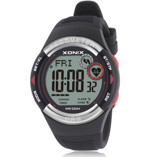 חם!! מד צעדים קצב לב צג קלוריות BMI גברים ספורט שעונים עמיד למים 100m נשים דיגיטלי שעון ריצה צלילה שעוני יד