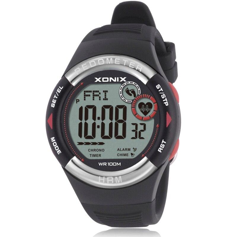 ¡Caliente! Podómetro Monitor de ritmo cardíaco calorías IMC hombres relojes deportivos impermeable 100 m mujeres Digital Reloj de buceo reloj de pulsera