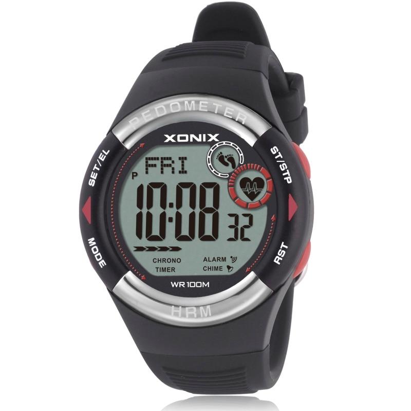 Hot!! Stappenteller Hartslagmeter Calorieën BMI Mannen Sport Horloges Waterdicht 100 m Vrouwen Digitale Horloge Running Duiken Horloge-in Digitale Klokken van Horloges op  Groep 1