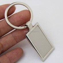 Bán buôn Trống Rectangle Kim Loại Key Khuyến Mãi Dây Chuyền Thẻ Chìa Khóa Tùy Chỉnh Biểu Tượng Laser Dây Móc Khóa DHL Miễn Phí Vận Chuyển