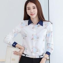 Women Fashion Korean Style Slim Long Sleeved Printed Turn Down Collar Leisure Chiffon Shirts Blouses
