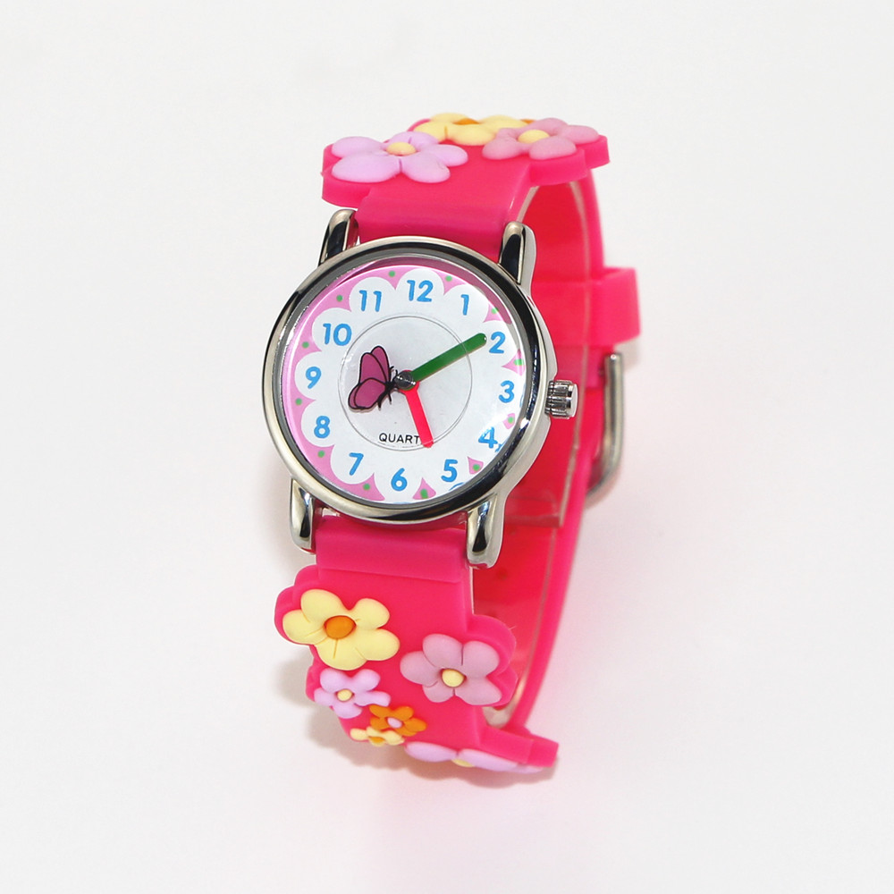 MINI 3D Band Flowers Pattern Design Little Girl Children Students Boy Women Wrist Watch Waterproof Clock Reloj