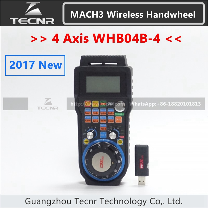 XHC 4 Axis MACH3 Wireless Handwheel CNC MPG Handwheel Manual USB Receiver 40 meters transmission distance WHB04B handy pulser mpg handwheel 4 axis 100ppr 5v 15v manual pulse generator use for fanuc fagor cnc system with cable