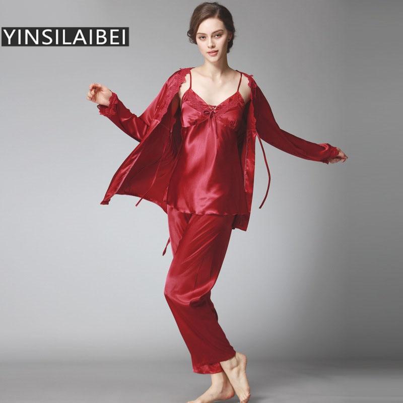 Ladies Pyjamas Set Comfortable Womens Satin Pajamas Sets Faux Silk ...